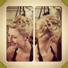 Vintage evening wedding hair.  Love
