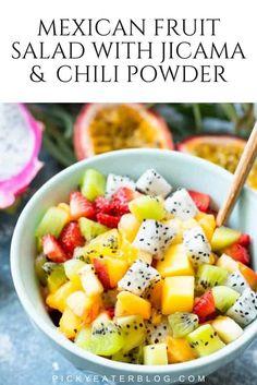 Mexican Fruit Salads, Healthy Mexican Recipes, Vegetarian Salad Recipes, Yummy Healthy Snacks, Fruit Salad Recipes, Vegetarian Mexican, Mexican Dishes, Healthy Food, Vegan Recipes