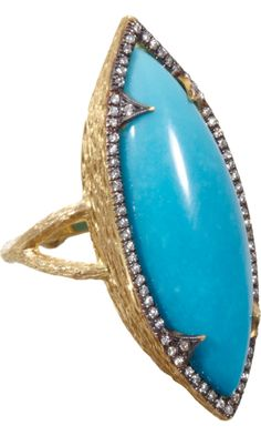 Cathy Waterman Turquoise & Diamond Branch Ring. In love!