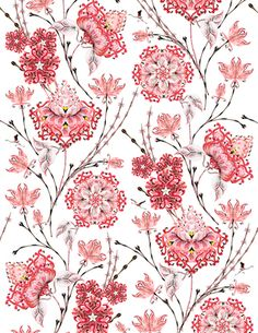 Rara Avis : Wallpaper made from found photos of real pink flamingos . I WILL have this on my walls some day