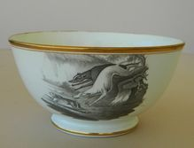 C1810 Antique Spode Bat Printed Porcelain Bowl Coursing Greyhound Dogs