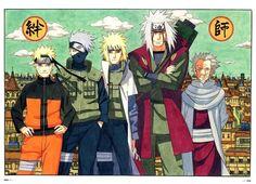 Naruto - Naruto Uzumaki, Kakashi Hatake, Minato Namikaze (4th Hokage), Jiraiya & Hiruzen Sarutobi (3rd Hokage)