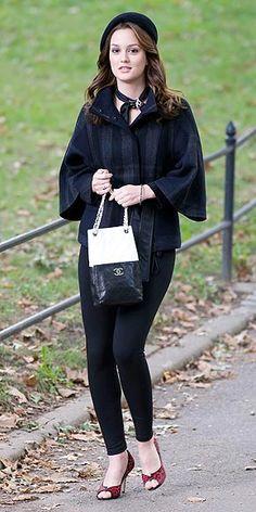 Jacket - Theory, Purse – Chanel, Pants – Vince leggings, Hat – Ralph Lauren, Shoes – Manolo Blahnik