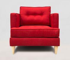 Un sillon rojo para dar un toque vibrante a tu casa! Mas en: http://www.gaiadesign.com.mx/sillon-zapata-rojo.html