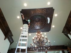 Castle Painting faux-finishing a ceiling -- part of a huge residential painting project for a local celebrity in Atlanta