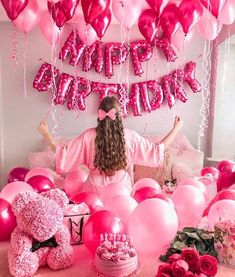 bedroom balloons and banner and confetti and fancy pajama Birthday Goals, Birthday Party For Teens, 18th Birthday Party, Pink Birthday, Hotel Birthday Parties, Happy Birthday Quotes, Birthday Ideas, Birthday Balloon Decorations, Happy Birthday Balloons