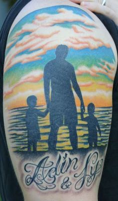 silhouette of dad and children