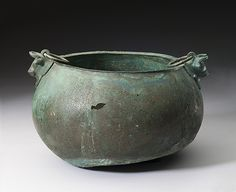 "Cauldron with bull's-head attachments, late 8th–early 7th century B.C. Bronze. Said to be from Cumae, North Syrian(?). Nationalmuseet, Copenhagen | This object is featured in ""#AssyriatoIberia at the Dawn of the Classical Age,"" on view through January 4, 2015 #Halloween"
