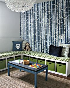 creative organization 2 IKEA expedit bookshelves made into window bench