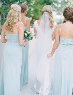 Seafoam blue bridesmaid looks: http://www.stylemepretty.com/2016/01/25/seafoam-blue-santa-rosa-beach-wedding/ | Photography: Jennifer Blair - http://jenniferblairphotography.com/