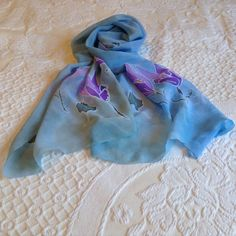 Handpainted Muslin Shawl,Flowery Scarf,Unique Scarf,Foulard,Pashmina,Colorful Scarf, 50x148 cm, Tulips Flowers, Blue Violet Lilac by VioletaMarket on Etsy