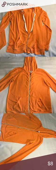 Hooded sweater Orange,  relaxed fabric hoodie.  Soft and light fabric provide comfort from the cold but won't make you too warm.  Perfect for working out or lounging. Size large.  Preloved Sweaters