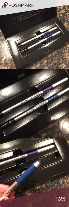 NWT Marc Jacobs Eye Liners Brand new, includes 2 Marc Jacobs high impact, matte, eye crayons in shades overnight and grape vine. Both full size and never used! Marc Jacobs Makeup Eyeliner
