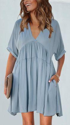 Boho Mini Dress, Mini Dress With Sleeves, Black Midi Dress, Mini Dresses, Shift Dresses, Blue Kimono, Tiered Dress, Casual Dresses, Dress Outfits