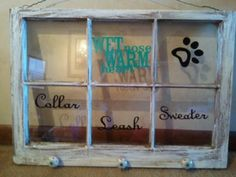 Made from an old window a holder for my puppy dog stuff. Need this for my room! I Love Dogs, Puppy Love, Cute Dogs, Rambo 3, Dog Bag, Dog Crafts, Crazy Dog, Dogs And Puppies, Doggies