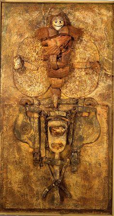 """Louis PONS  """"Le Chaman doré.""""  125 x 68 cm. 1991.  Materiaux divers"""