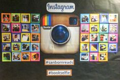 Book selfie - love this idea! Pinner says: We asked students and faculty to share a with us. I printed the first 40 for the bulletin board. Selfie Bulletin Board, Reading Bulletin Boards, Bulletin Board Display, Classroom Bulletin Boards, Preschool Bulletin, Instagram Bulletin Board, Display Boards, Display Ideas, School Library Displays