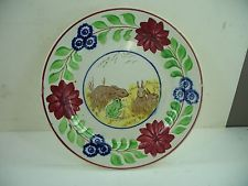 STAFFORDSHIRE  Antique Stick Spatter Rabbitware Spongeware with Frog Plate