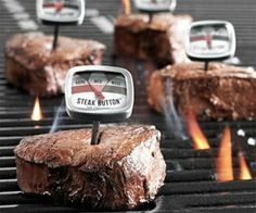 Steak button thermometers from Sur La table. - no guessing. I need these, I can't grill for crap Cocinas Kitchen, Best Dad Gifts, Cool Stuff, Stuff Stuff, Man Stuff, Geek Stuff, Cool Gadgets, Future Gadgets, Kitchen Gadgets