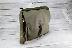 Vintage USSR Army Canvas Bag Messenger Bag by TheVintageEurope