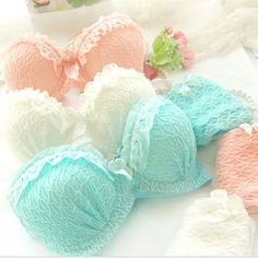 Maiden Sweet Lace Gather Bra Sets Sexy Women Ruffle Push-Up Lingerie Underwear #Unbranded