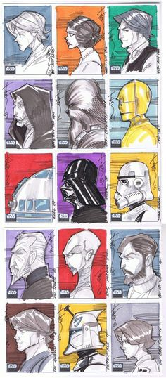 x Topps Sketch cards. The first batch of my Topps Star Wars galaxy 6 Sketch cards. Fandoms Unite, Star Wars Poster, Clone Wars, Starwars, Science Fiction, Nerdy, Character Design, Geek Stuff, Universe