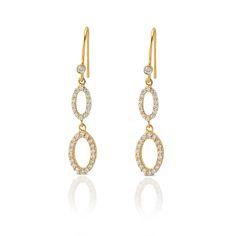 Blossom dingle øreringe med hvid facetteret zircons i 18 karat guldbelagt sterlingsølv. 30 Mm lang. - Needs jewellery