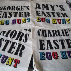 Personalised Easter Egg Hunt bags. sayitwithsam on Facebook.
