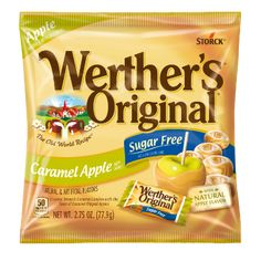 The taste of caramel dipped apples in a sweet, sugar-free hard candy. Werther's Caramel, Caramel Bits, Caramel Apples, Sugar Free Hard Candy, Puffs Cereal, Apple Dip, Grocery Store, Free Food, Packaging Design