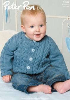 A lovely cable cardigan knitting pattern for youngsters - you can knit it in round-neck or v-neck. Try it with: Peter Pan DK