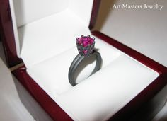 Finished product shipping to California, United States - Classic 14K Matte Black Gold Marquise 1.0 Carat Round Pink Sapphire Solitaire Ring R90-14KMBGPS by Art Masters Jewelry