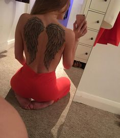 "149 Likes, 9 Comments - Clara Meeks (@clarabella173) on Instagram: ""No filter needed #angelwingstattoo #angelwings #selfie #tattoo #backpiece"""