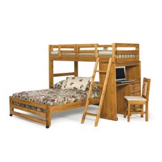 This bunk/ loft bed is crafted with quality pine wood for a durable quality. This bunk/ loft bed features a space saving, yet non-confined design, with a side desk adds convenience all in a honey finish.