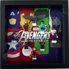 Avengers Assemble minifigure display frame for Lego minifigs (black frame).