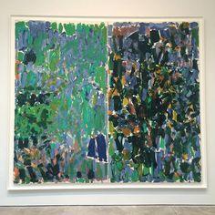 "Joan Mitchell, Heel, Sit, Stay (Diptych), 1977, oil on canvas, 110 3/8 x 125 7/8"", @cheimread, NY through December 23, 2016. #joanmitchell #cheimread #fallshows"