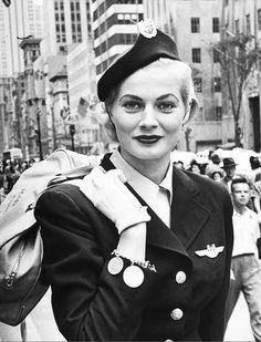 Miss Sweden Anita Ekberg aged 20 wearing a hostess uniform for Scandinavian Airlines