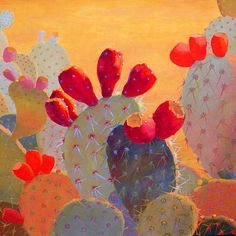 Cactus Paintings by Sharon Weiser - Turquoise Tortoise Art Gallery art garden indoor art garden indoor plants Cactus Painting, Cactus Art, Painting & Drawing, Cactus Plants, Diy Painting, Painting Inspiration, Art Inspo, Southwestern Art, Illustration Art