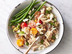 A whole-grain protein bowl is the perfect solution for when lunch needs to be quick--as well as tasty, filling, and healthy. Cook quinoa ahead of time (or buy precooked, available in pouches near the rice). To complete the lunch, serve with 1/2 cup steamed green beans as shown. Dairy-free option: Use 2 teaspoons toasted chopped walnuts instead of feta cheese.