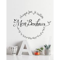 """""""every day I cultivate Happiness"""" Wall Stickers Quotes Art Vinyl Decal Mural Kid Large Wall Decals, Flower Wall Decals, Removable Wall Decals, Vinyl Wall Decals, Wall Stickers Quotes, Wall Quotes, Modern Wall Decor, Wall Art Decor, Room Decor"""