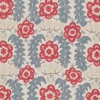 Bursa Printed Linen - Detail - NF09 Vaughan Ltd, British design, heritage, traditional, lighting, luxury, interior, design, luxury, linen, fabric, textiles, print, colour, blue, red, floral, upholstery, print