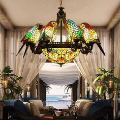 Stained glass Parrott chandelier ! WOW!