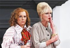 "Jennifer Saunders and Joanna Lumley aka Patsy and Edina in ""Absolutely fabulous"" Patsy And Eddie, Edina Monsoon, Patsy Stone, Jennifer Saunders, Dawn French, Joanna Lumley, Bad Barbie, 80s And 90s Fashion, All Things Fabulous"