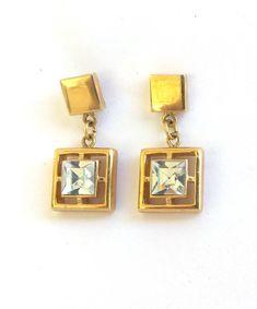 Vintage Aquamarine Rhinestone Gold Tone Earrings, Open Work Post Rhinestone Earrings Light Blue Stone Earrings Square Drop Earring. https://etsy.me/2E5tchi #jewelry #earrings #blue #women #gold #square #earlobe #glass #butterfly