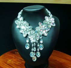 Drag Queen Showgirl Cabaret Costume JEWELRY CRYSTAL Flower Choker Necklace No.2 #moulin_rouge_dancewear