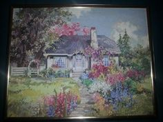 Idaho Hideaway Marty Bell Completed Cross Stitch America the Beautiful Series