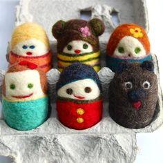 set of 6 mini egg people and mini dog (felted wool), asherjasper, etsy