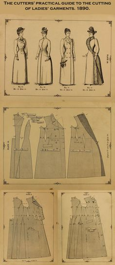 Victorian coat patterns. The cutters' practical guide to the cutting of ladies' garments. 1890. Clickthrough also has related sleeve pattern.