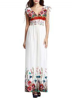 #Oasap.com - #oasap Fashion Summer V-Neck Sleeveless Floral Print Maxi Dress - AdoreWe.com
