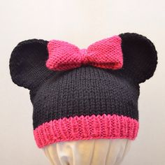 Ravelry: Mickey and Minnie Mouse Knit Hat pattern by Cynthia Diosdado.  Worsted weight.