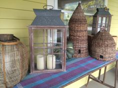 lanterns and bee skeps of all sorts of sizes and styles abound, to keep your porches and gardens and sunrooms looking bright and beautiful. come visit us at 80 south broadway in tarrytown, ny for all of your fair weather decor needs. see you at the shop!  prettyfunnyvintage.com